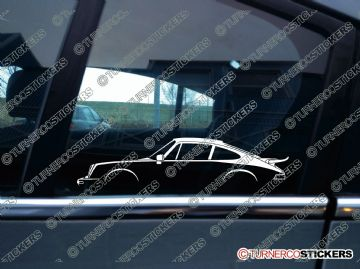 2x classic Car Silhouette sticker - Porsche 911 Turbo, 930 (1975 – 1977) Non-Intercooled